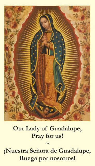 BILINGUAL Our Lady Of Guadalupe Memorare Prayer Card English Spanish