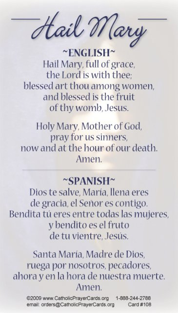 Spanish Bilingual Catholic Prayer Cards - St Therese of ...