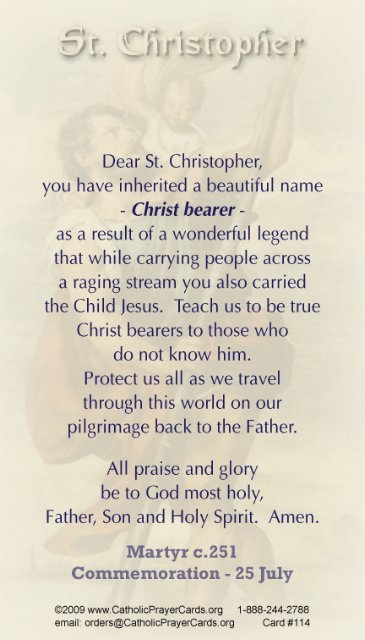Saint Christopher Prayer