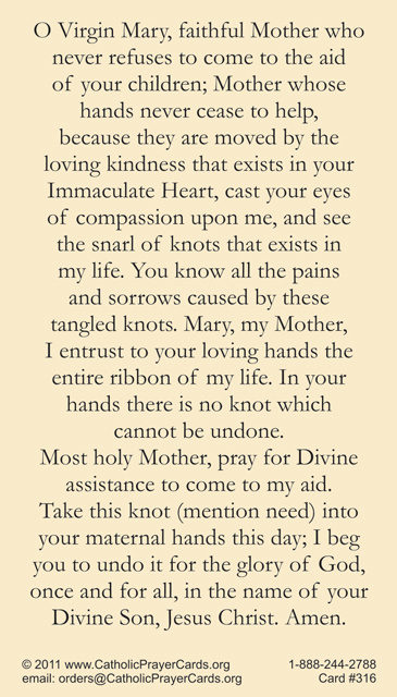 Our Lady Undoer Of Knots Prayer Card on learn about jesus banner