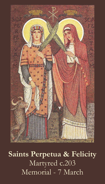st perpetua and felicity The account of the martyrdom of sts perpetua and felicity forms one of the finest pages of the history of the first centuries of the church they were exposed to the fury of wild beasts in the amphitheatre at carthage, ad 203, and finally killed by the sword.