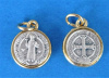 St. Benedict Round Medal with Gold Tone Trim