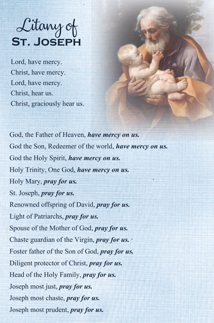 Litany of St Joseph Prayer Card