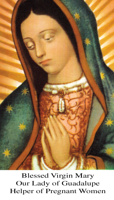 Our Lady of Guadalupe Helper of Pregnant Women Prayer Card