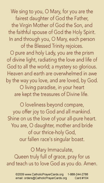 TRINITARIAN IMMACULATE HEART OF MARY PRAYER CARD