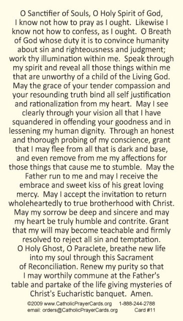 PRAYER FOR A HOLY CONFESSION PRAYER CARD