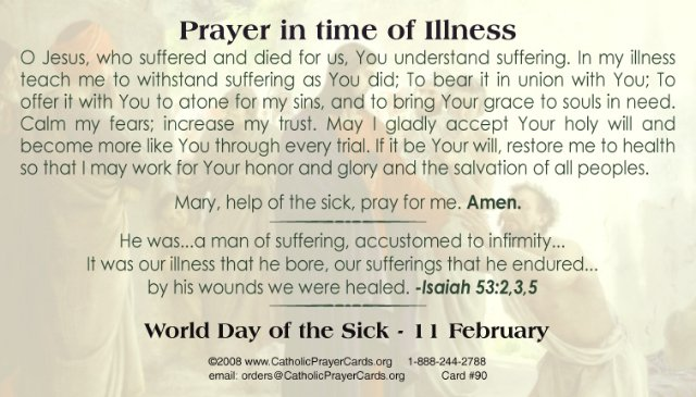 PRAYER FOR THE SICK PRAYER CARD