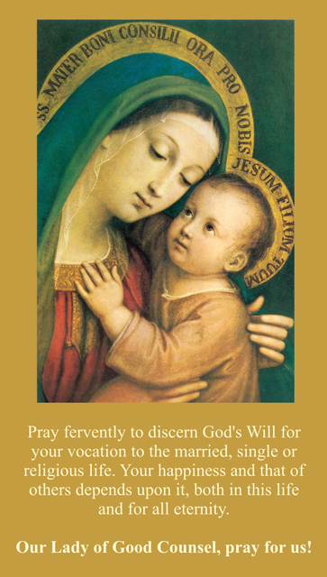 Our Lady of Good Counsel Vocational Discernment Prayer Card