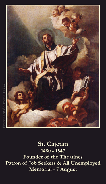 St. Cajetan Prayer for the Unemployed Holy Card