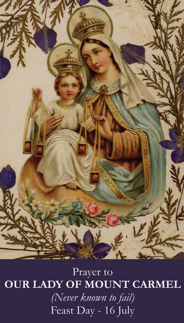 Our Lady of Mt. Carmel Prayer Card