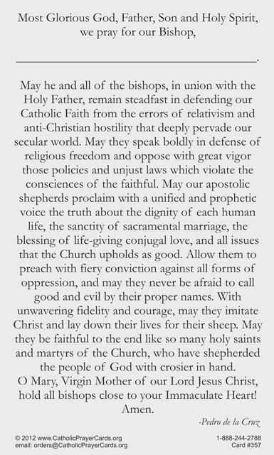 Prayer for All Bishops Holy Card