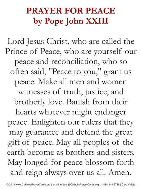 prayer for peace by pope st  john xxiii