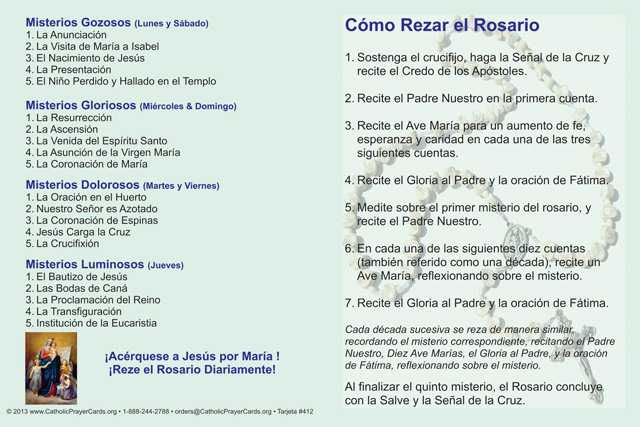 *SPANISH* How to Pray the Rosary Fold-over Card