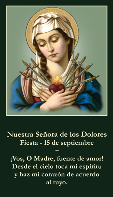 *SPANISH* Our Lady of Sorrows Prayer Card