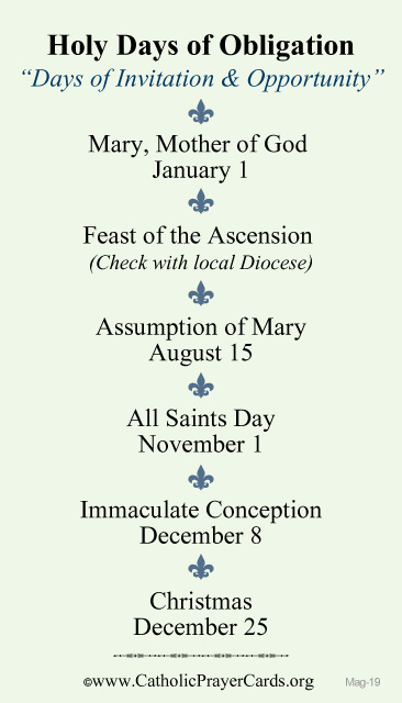Holy Days of Obligation Magnet