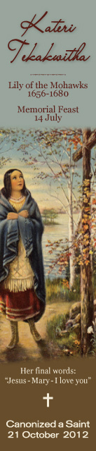 Kateri Tekakwitha Canonization Bookmark