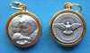 Holy Family / Holy Spirit Round Gold Tone Trim Medal